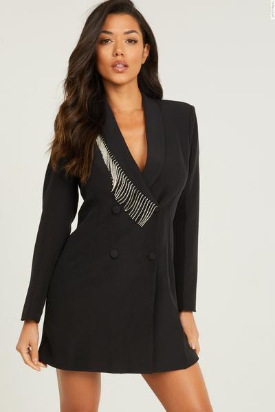 Black Diamante Trim Blazer Dress